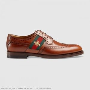 Sz 11.5 Men's Gucci Leather Lace-Up with Bee Web